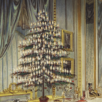 Detail showing decorated christmas trails on tables