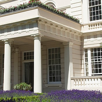 A view of the front of Clarence House and garden
