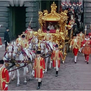 The Gold State Coach leaves Buckingham Palace