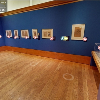 Interior of the Queens Gallery, Holyroodhouse, with items from the Eastern Encounters in cases and on the walls