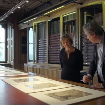 Vanessa remington and Andrew-Graham Dixon view drawings in the Print Room