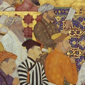 Image from 'Book of Emperors' showing group of men in brightly coloured robes.