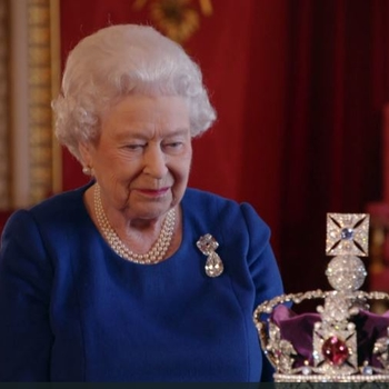 The Queen looking at the Imperial State Crown
