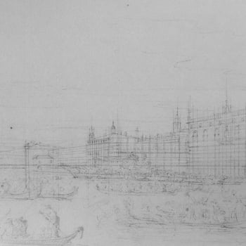 Infrared image of Canaletto drawing