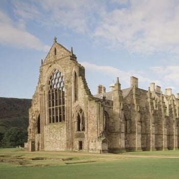 View of Holyrood Abbey ruins from the garden