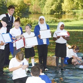 Children participating in a schools' garden art workshop at Buckingham Palace