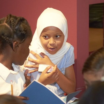 Children participating in a schools' gallery workshop at The Queen's Gallery, Buckingham Palace