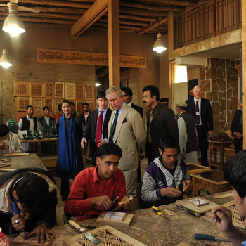 Prince Charles visiting a workshop in Afghanistan