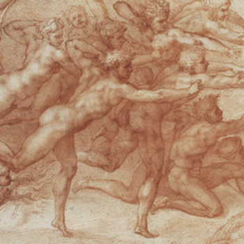 Detail from Michaelangelo work showing archers firing at a lover