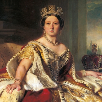 Queen Victoria at her coronation, wearing robes of state