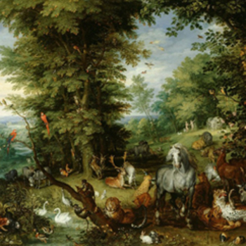 details from painting Adam and Eve in the Garden of Eden, 1615
