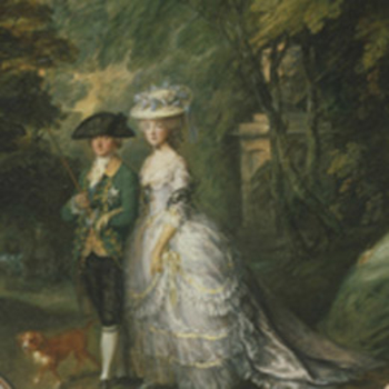 A couple in a wooded scene