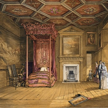 Nineteenth-century visitors in Queen Mary's Bedchamber.