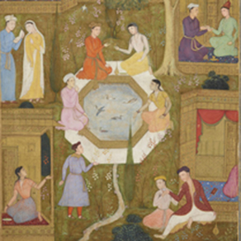 Detail showing couples in a Persian garden
