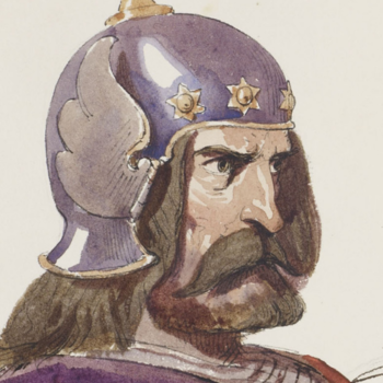Painting and sketch of a knight from Albert Edward's teaching sketchbook