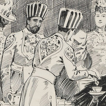 Detail showing Queen Victoria drinking tea at a Buckingham Palace Garden party