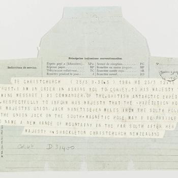 Telegram from Skackleton to Edward VII