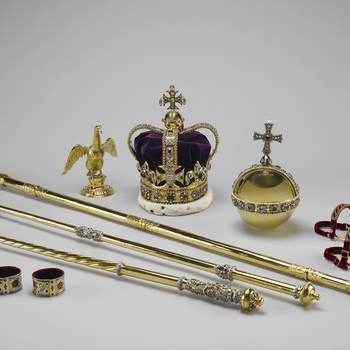 The regalia of Charles II, including a crown, orb and sceptre