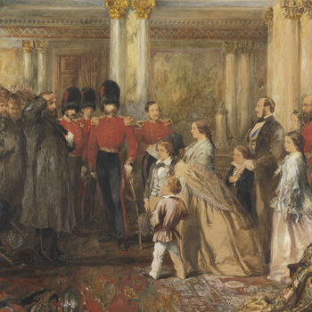 The Queen inspecting wounded Coldstream Guardsmen in the Hall of Buckingham Palace, 22 February 1855