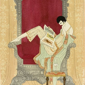 Illustration from the upcoming publication of 'A note of explanation'. The image shows a 1920's woman reclining on a throne.