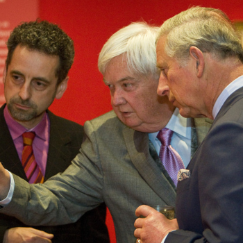 HRH The Prince of Wales visiting the exhibition 'Leonardo da Vinci: Anatomist, with Martin Clayton (curator, left) and Dr Ron Philo (centre), co-author of the catalogue.