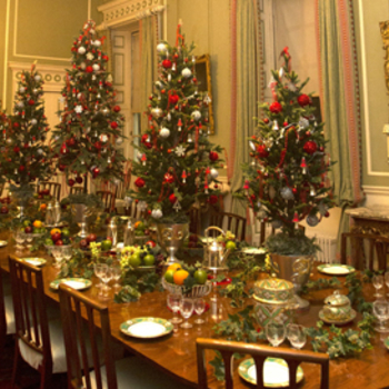 Festive decorations in the State Dining Room at the Palace of Holyroodhouse