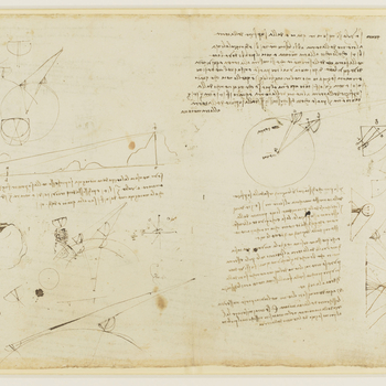 Recto: a sheet of notes on the geometry of optics, illustrated with diagrams; a head, turned in profile to the right, squared for enlargement and at right angles to it a left profile, not by Leonardo. Verso: a sheet of notes on the geometry