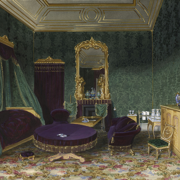 A watercolour of a view ofthe bedroom at Buckingham Palace, prepared forNapoleon III. Signed and datedJs Roberts / 1855. Painted at Buckingham Palace in April and May 1855.  In September 1854 Prince Albert visited the military camp at Bo
