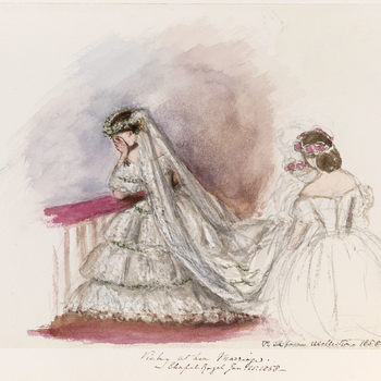 A watercolour showing Victoria, Princess Royal on her wedding day. She is shown kneeling at the alter with her face in her hands. She is dressed in a wedding dress of white moire antique trimmed with three flounces of Honiton lace. At top of each flounce