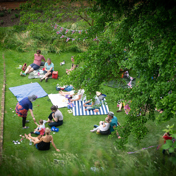 An aerial view of a workshop in the Moat Garden