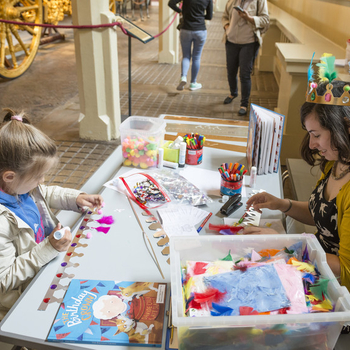 Children crafting at the Mews
