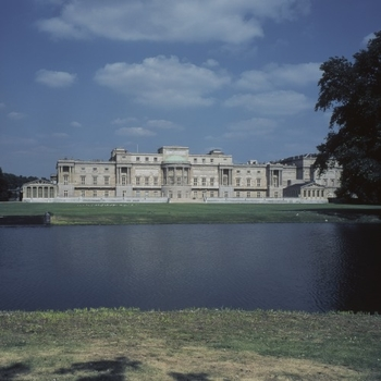 View of the back of Buckingham Palace and gardens