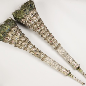 Peacock feather fans