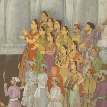 Shah-Jahan honouring Prince Awrangzeb at his wedding (19 May 1637)