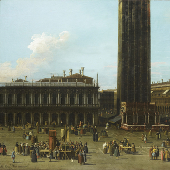 Crop of painting of St Mark's Square in Venice