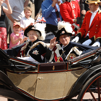 Photograph of Her Majesty The Queen and His Royal Highness The Duke of Edinburgh in a carriage on Garter Day