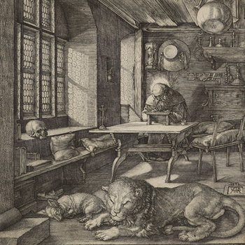 An engraving showing St Jerome working in his study by Albrecht Durer