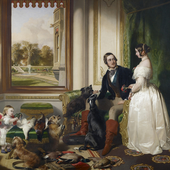 Painting by Sir Edwin Landseer showing Queen Victoria, Prince Albert, Princess Victoria and a selection of their dogs in Windsor Castle