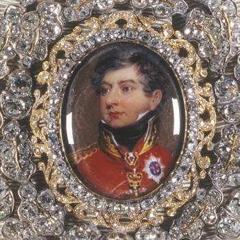 Detail of the badge, Family Order of King George IV. Showing his portrait surrounded by diamonds.