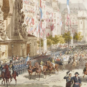 Queen Victoria's carriage travelling through the crowds of teh streets of Paris