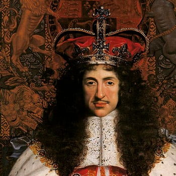 Detail from Wright's portrait showing the head of Charles II