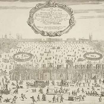 Sketch of the frost fairs on the frozen river Thames