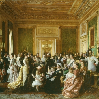 Queen Victoria is sitting in the Green Drawing Room at Windsor Castle, surrounded by members of her family. On the mantelpiece is a bronze bust of Prince Albert. Queen Victoria commissioned the painting to commemorate the gathering of her family for the G