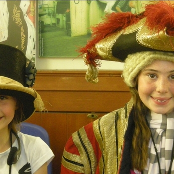 Children dressing up at the Royal Mews, Buckingham Palace