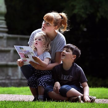 Children with a trail at the Palace of Holyroodhouse