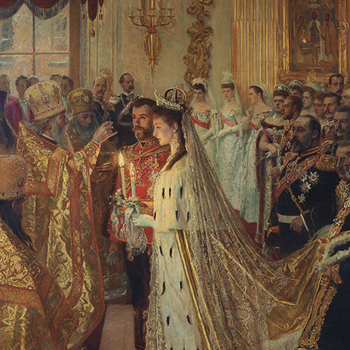 Detail showing a bride and groom being married in front of a crowd of dignitaries