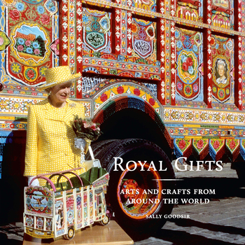 Cover for the Royal Gifts catalogue, showing The Queen standing in front of a brightly painted book