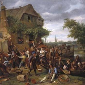 Drunken village scene ourtside a tavern