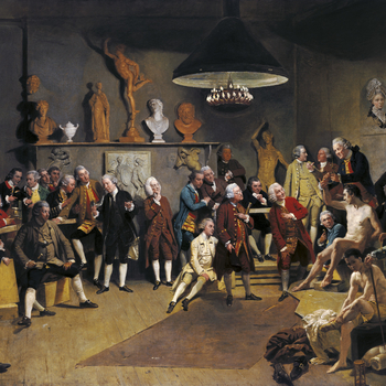 Zoffany's image similarly shows the 'back-of-house' clutter and the intellectual dignity of working artists, where fine gentlemen sit on packing cases and converse with polish and good-humour. He depicts the Academy's life-drawing