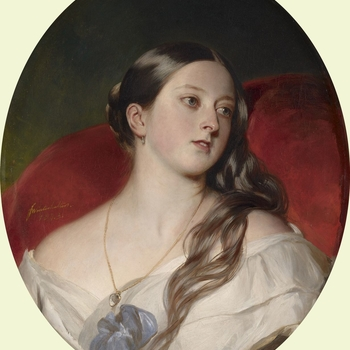 While the Royal couple chose Winterhalter to paint their official portraits, they also entrusted him with more private images. Here Queen Victoria is seen in an intimate and alluring pose, leaning against a red cushion with her hair half unravelled from i